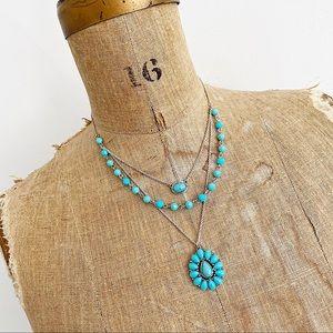 CHAPS Ralph Lauren triple chain turquoise necklace
